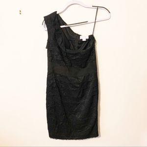 Jessica Simpson black lacy one shoulder mini dress